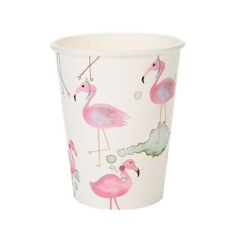 Copo Papel 200ml Aquarela Flamingo - 10 unid.